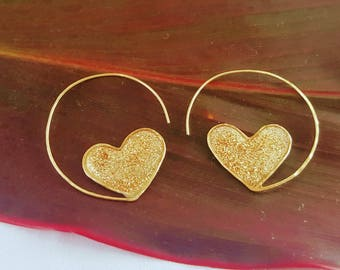 Heart Hoops with Gold Resin | 14 K Gold Filled | Sweet and Flirty | Handmade in Hawaii
