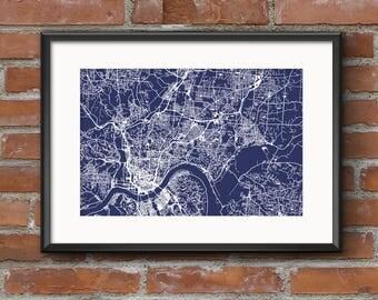 Cincinnati Map Art Print –Blueprint // Cincinnati Poster | Cincinnati Art | Cincinnati Print // Free Shipping