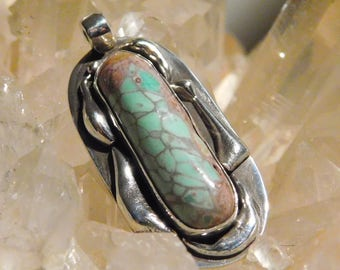 shiningstarforge variscite and sterling silver pendant signed