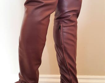 Sexy Magenta Matt Leather Extra Length Thigh Length Boots inside zip UK 6 EU 39