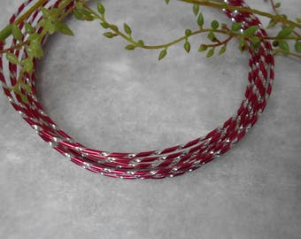 Burgundy and silver aluminum wire - width 2 mm - length 1 meter