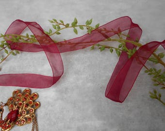 1 meter - organza Ribbon Burgundy 17mm