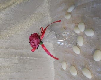 Teardrop topped with sugared almonds with aluminum wire and pink flower and Ribbon for wedding Fuchsia plexi