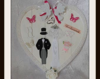 """heart wedding """"Vive les married"""" wooden hanging"""