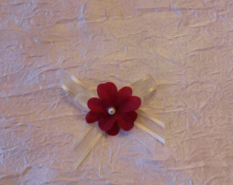 Burgundy flower wedding boutonniere / white