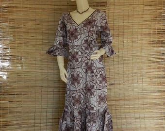 Embroidered maxi dress long and volents T 36/40 in African Ankara fabric