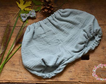 Green crinkle gray boy or girl diaper bloomers