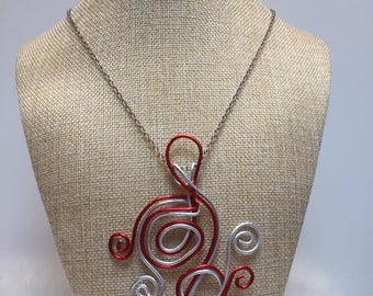 Jewelry necklace red and silver aluminum wire