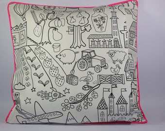 Square Cushion cover, childish black and white drawings.