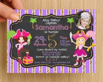 Girls Pirate Party Birthday Invitation Personalised #1 - With or without photo, digital download, party supplies