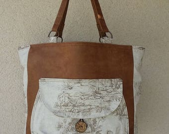 Large leather tote bag * honey and French toile de Jouy
