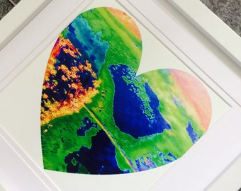 Framed heart print, Nature lovers emerald green aerial view heart, Queensland.