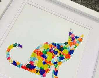 Cat rainbow framed Print.