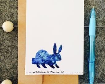 New baby card blue bunny rabbit