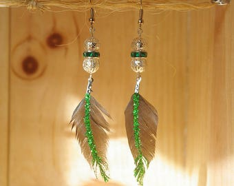 Glitter feather - By Lily Creart earrings '