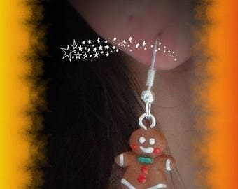 little gingerbread 1.5 cm tall chocolate mounted on silver plated earrings