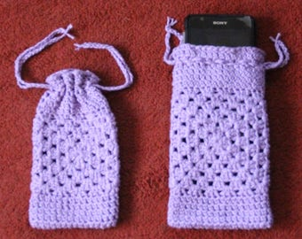Cases for mobile crocheted in soft cotton