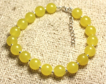 Bracelet 925 sterling silver and stone - 8mm yellow Jade