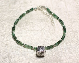 Bracelet 925 sterling silver and stone - faceted rondelles 3mm Zambian Emerald