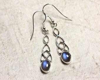 BO241 - earrings 925 sterling silver and gemstone Labradorite 36mm Celtic knot