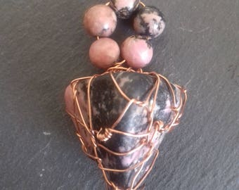 wire wrapped RHODONITE pendant