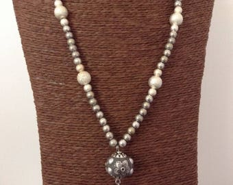 Necklace beads silver plated and cotton cords