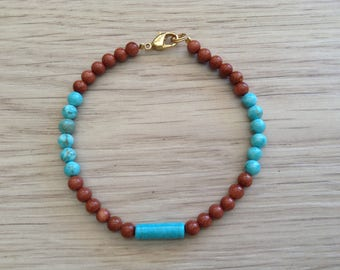 Gold sand stone and howlite bracelet