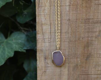 Purple Sea Glass Necklace