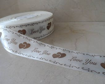 2 meters of satin ribbon 40 mm ivory color wedding