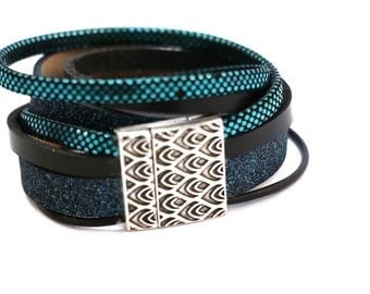"Sparkly Cuff Bracelet magnetic ""Miami"" black, dark blue and blue genuine leather."