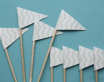 Mint Green Chevron Cupcake Toppers Pack of 10