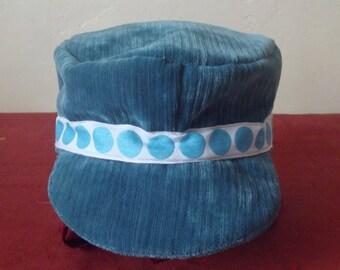 Blue corduroy winter Hat