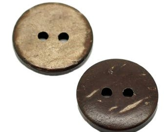10 Brown 15mm 2 hole coconut shell buttons