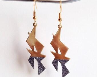 Glitter - gold tone dangle earrings
