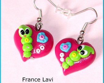 Earrings: pink heart and baby chenille kawaii