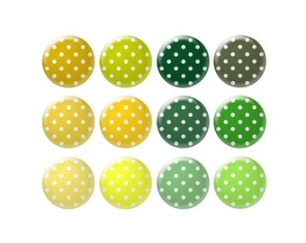 Digital bottle cap images - Yellow and green polka dot images - 20 mm to 30 mm circles - Bottle cap jewelry patterns - Digital images