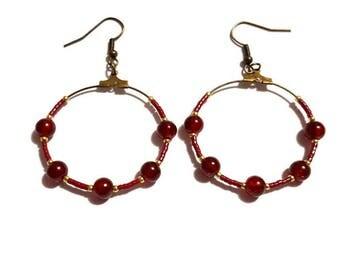 Bronze earrings pearls bordeaux and Burgundy beads miyuki