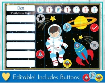 Astronaut Editable Chore Chart, Reward Chart, Behaviour and Responsibility Chart, Space Printable Chart, Task Chart, Toddler Routine Chart