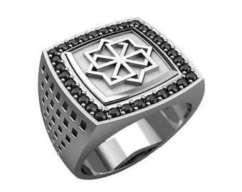 Molvinets Slavic Amulet Symbol Men Ring Sterling Solid Silver 925 Black Zircons SKU30335