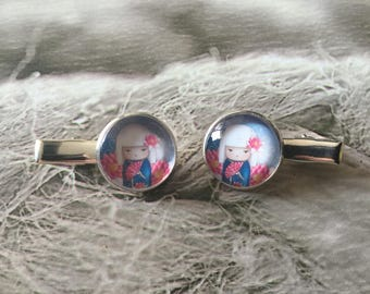 Gift for child's set of 2 small hair clips or bookmarks Japanese small Alligator Clip.