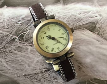 Ladies size watch. Mr. oval bronze magnetic clasp brown suede leather Bracelet