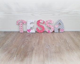 Letter name in wood for door 8 cm personalised heart/Star theme pink, white and gray