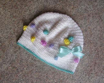 Knit Baby Hat Multi Сolored Spring Hat Knitted Bobble Hat Girls Knit Hat Multicolor Toddler Hand Knitted Hat Girls Gifts Knit Accessories