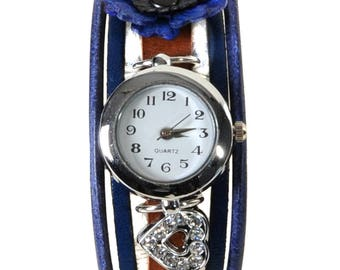 Watch jewelry Prague blue and Brown with a sea anemone leather