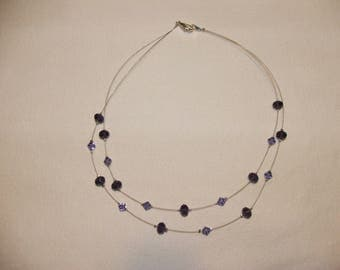 Necklace double strands glass beads