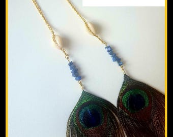 Long Drop Lapis Lazuli Crystal Earrings