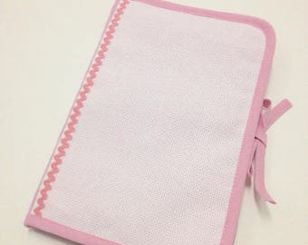 Health book has cross-stitch, pink 100% cotton fabric, choose outline