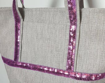 Pretty purple sequins and gray canvas bag