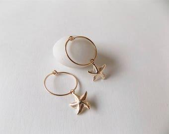 Star earrings in 14 k gold filled starfish