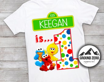 Sesame Street 1st Birthday Shirt - Personalized with Name and Age - Sesame Street First Tee - Custom Sesame Street Tee